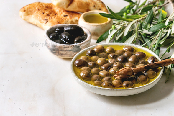 Green and black olives - Stock Photo - Images