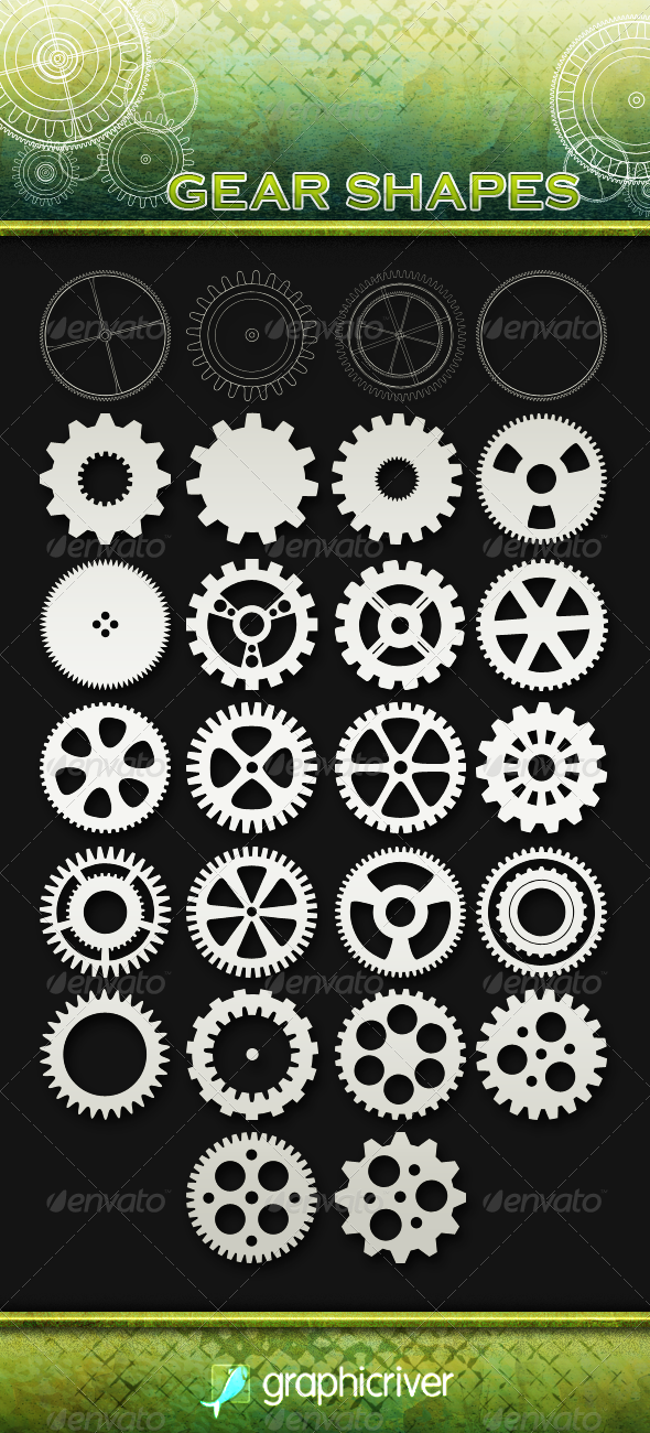 26 Gear Shapes - Objects Shapes