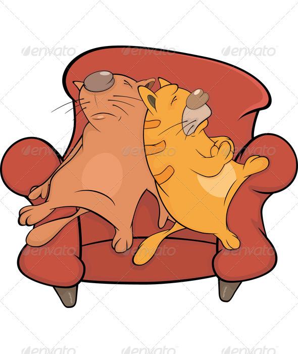 Cats On A Sofa Cartoon  - Animals Characters