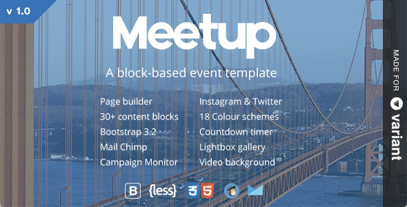 Meetup | Conference & Event Landing With Page Builder