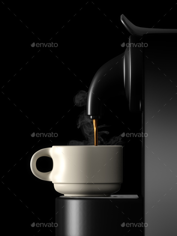 fresh coffee machine black side view - Stock Photo - Images