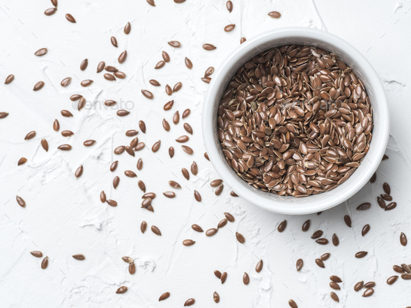 Flax seeds with copy space - Stock Photo - Images