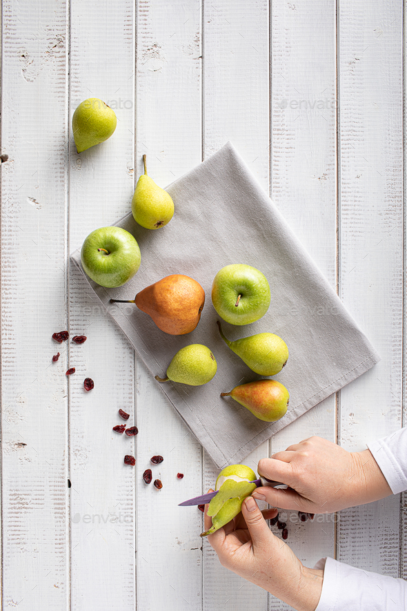 Peeling Pears - Stock Photo - Images
