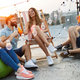 Group of happy young friends having party on rooftop - PhotoDune Item for Sale