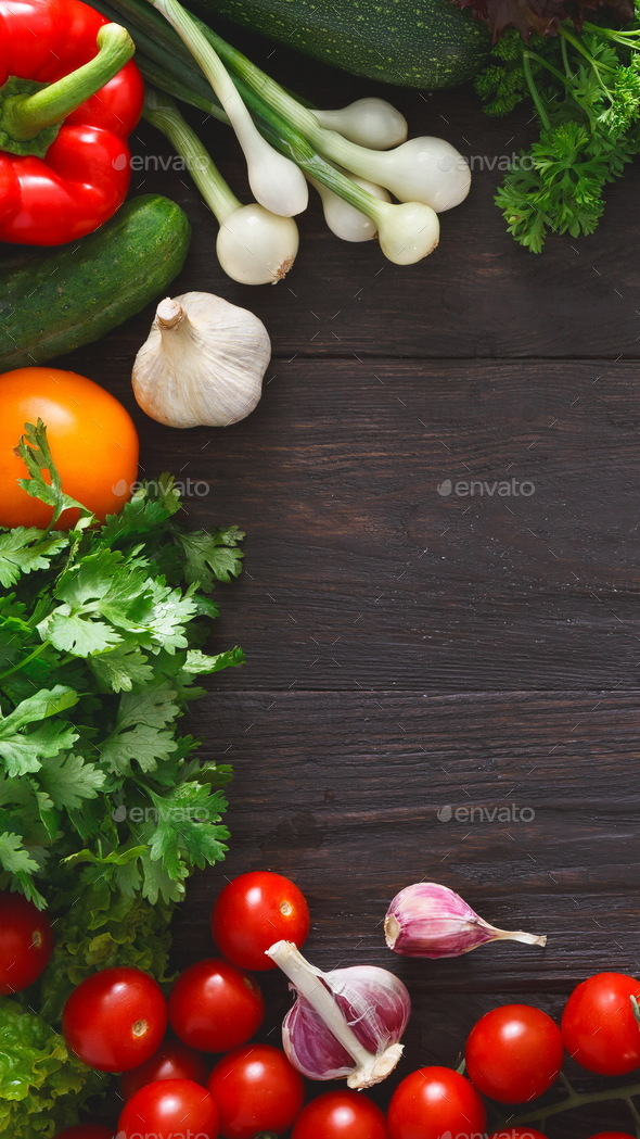 Frame of fresh vegetables on wooden background - Stock Photo - Images