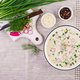 Cold soup with fresh cucumbers, radishes, potato and sausage with yoghurt in bowl.  - PhotoDune Item for Sale