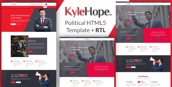 Excellent KyleHope - Political Campaign/Activities HTML Template