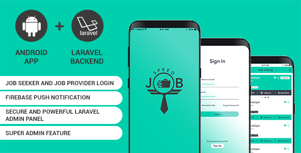 Download Speed Job android application with Laravel admin panel