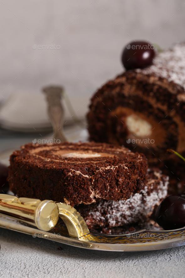 Chocolate Dessert Roll - Stock Photo - Images
