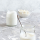 Fermented drink kefir in small bottles and kefir grains - PhotoDune Item for Sale