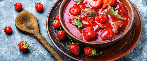 Summer strawberry soup - Stock Photo - Images