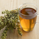 Glass of tea with twigs of dried green ironwort - PhotoDune Item for Sale