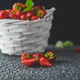 Strawberries in white basket. Fresh strawberries. - PhotoDune Item for Sale