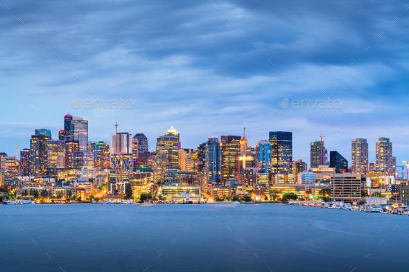 Seattle, Washington, USA skyline on Lake Union - Stock Photo - Images