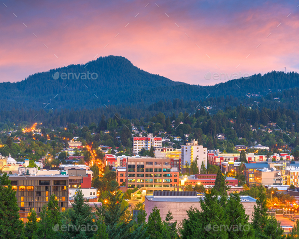 Eugene, Oregon, USA Skyline - Stock Photo - Images