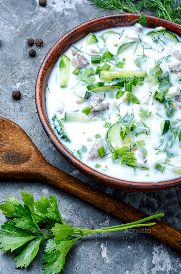 Okroshka,cold summer soup - Stock Photo - Images