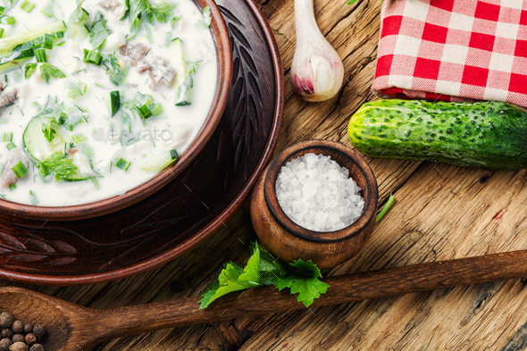 Okroshka,cold summer soup - Stock Photo - Images