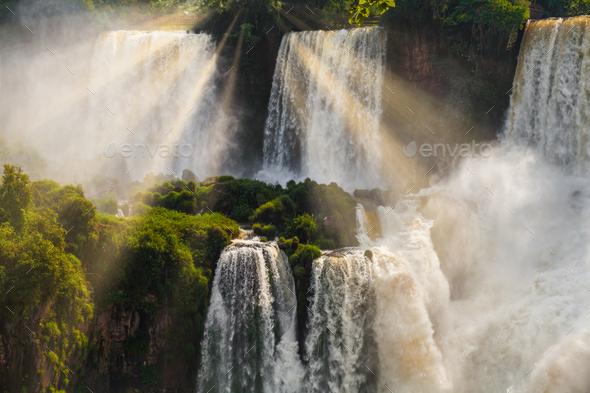 Iguazu Falls Cataratas del Iguazu are waterfalls of the Iguazu River - Stock Photo - Images