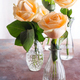 Beautiful fresh cut beige Roses in glass vase on stone background. Minimal floral composition for - PhotoDune Item for Sale