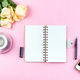 Morning coffee mug for breakfast, ephone, notebook, pencil and rose on pink table top view . Woman - PhotoDune Item for Sale
