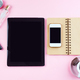 Woman's workplace with coffee, tablet, phone and cosmetics . Top view on pink background, mock - PhotoDune Item for Sale