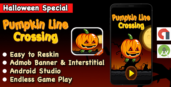 Halloween Pumpkin Line Jump + Endless Game + Android Studio + Ready For Publish
