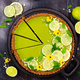 Cheesecake with slices of lime and lemon, fresh mint, candied fruit and pansy flowers - PhotoDune Item for Sale