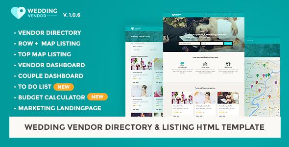 Wedding Vendor Directory & Listing HTML5 Template by jitu