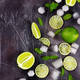 Fresh lime, mint and ice on dark background. - PhotoDune Item for Sale