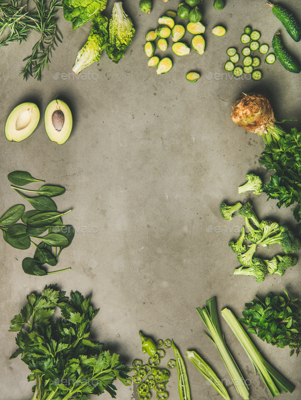 Flat-lay of whole and cut vegetables and herbs, copy space - Stock Photo - Images