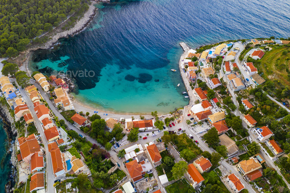 Sunset view of Asos village on the west coast of Kefalonia, Greece, Europe. - Stock Photo - Images