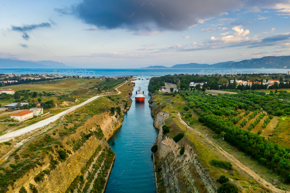 Ship passing through Corinth Canal in Greece - Stock Photo - Images
