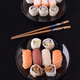 sushi on black base in shiny black porcelain - PhotoDune Item for Sale