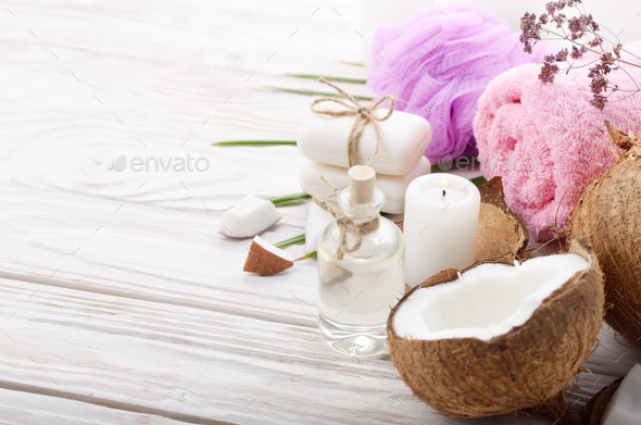 Body care Coconut oil soap and candle set on white table - Stock Photo - Images