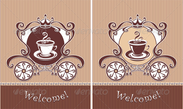 Royal Cup of Coffee or Tea in Carriage  - Food Objects