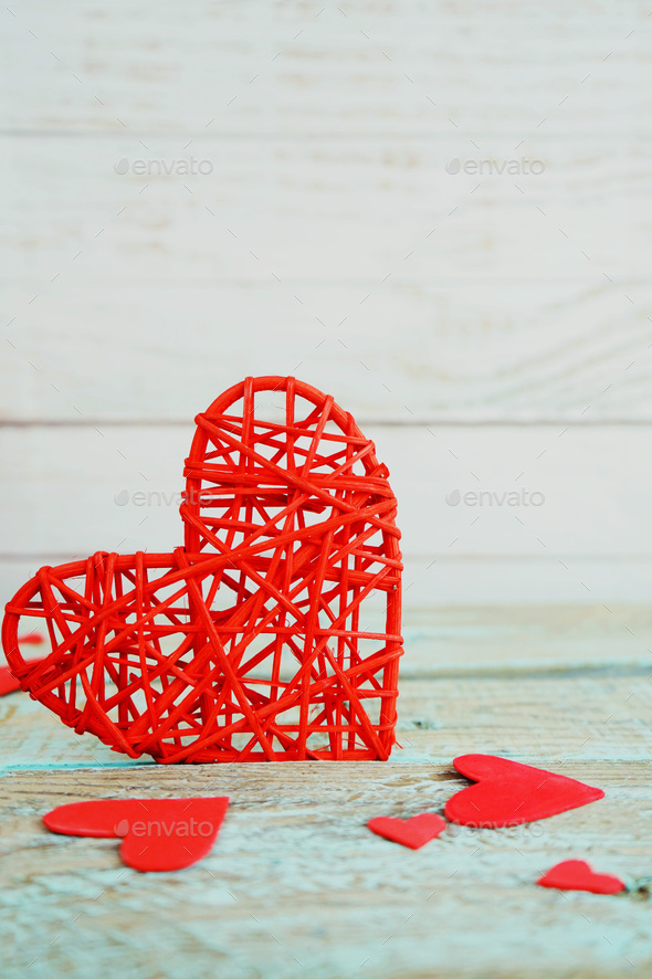 Valentine's day background with red hearts - Stock Photo - Images