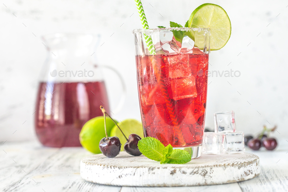 Glass of cherry mojito - Stock Photo - Images