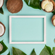 Creative flat lay with coconut ice cream and tropical plants - PhotoDune Item for Sale