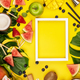 Fruits, berries, tropical plants and bar equipment on yellow background, flat lay - PhotoDune Item for Sale