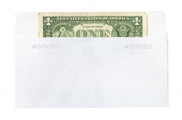 one united states one-dollar bill in mail envelope - Stock Photo - Images