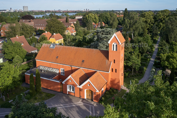 Aerial view of Roedovre church located on Zealand in Denmark - Stock Photo - Images