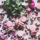 Sweet pink macaron cookies and rose flowers and petals - PhotoDune Item for Sale