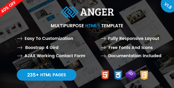 Anger - Creative Agency, Corporate and Portfolio Bootstrap 4 Multi-Purpose Template