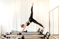Woman doing single leg pike yoga exercise - PhotoDune Item for Sale