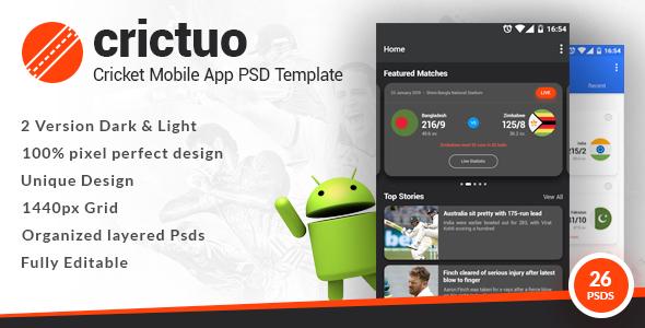 Crictuo - Cricket Mobile App PSD Template