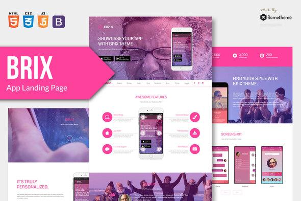BRIX - Mobile App landing page HTML Template by Rometheme