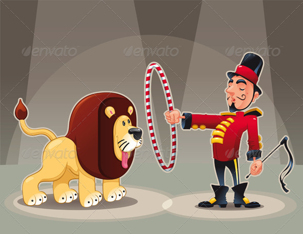 Lion Tamer with lion. - Animals Characters