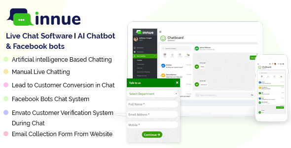 Innue - Live Chat Software | AI Chatbot and Facebook bots (Node JS & PHP Based)