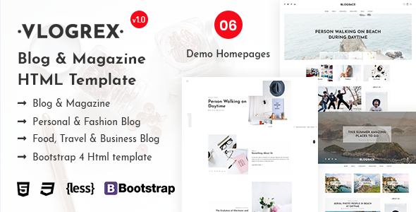 Vlogrex - Blog & Magazine HTML Template