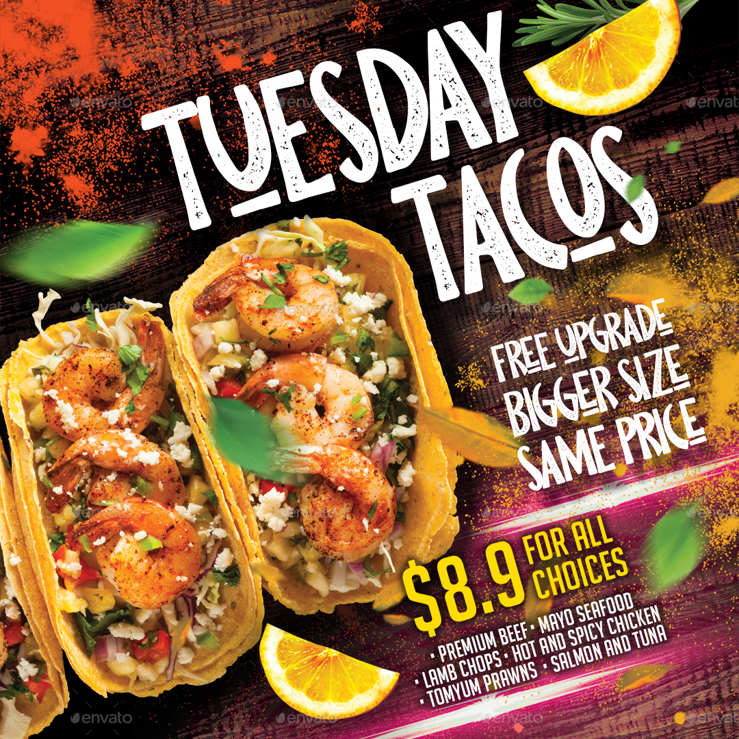 Logo Mockup Design Isolated: Tacos Mexico Restaurant Flyer